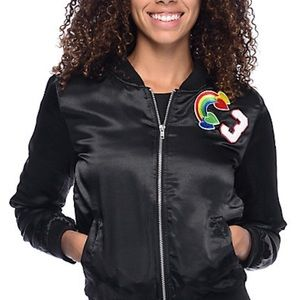 NWT Almost Famous Satin Multi Patch Bomber Jacket